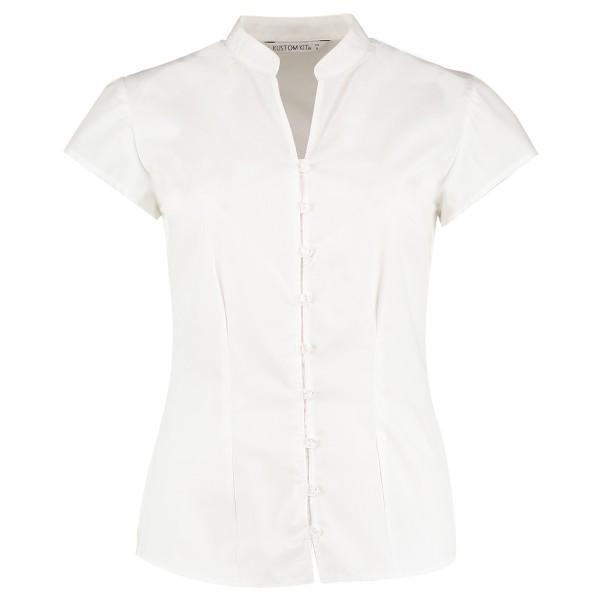 Tailored Fit Poplin Contintental Blouse Mandarin Collar Cap Sleeve Kustom Kit K727