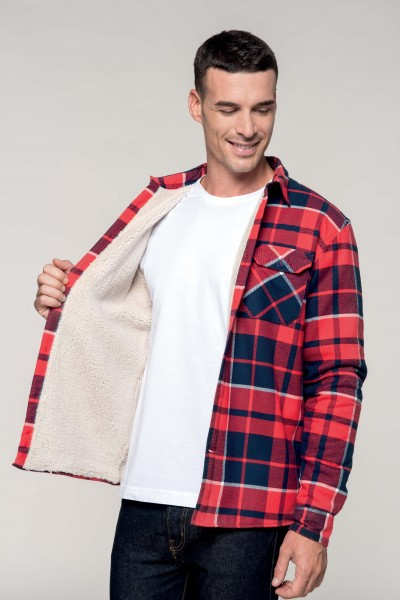 Sherpa-lined checked overshirt Kariban K579